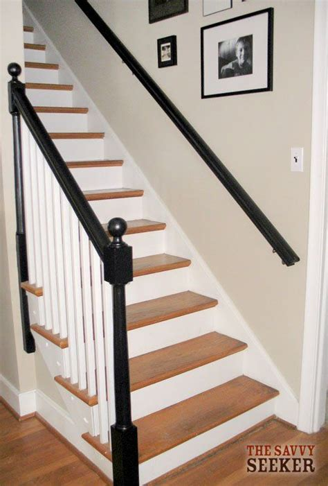 White Banister by Black Banisters White Spindles Oak Steps For The Home