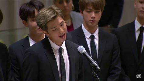 kim namjoon un speech bts united nations speech by kim namjoon 2018 youtube
