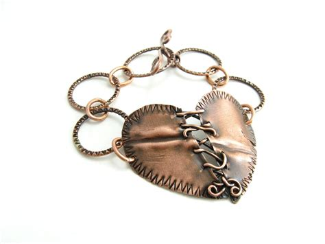 Handmade Metal Jewelry - stitched copper metal bracelet handmade metal by