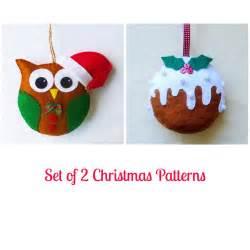 Home Made Christmas Decorations Set Of 2 Felt Christmas Ornament Patterns Santa Owl And