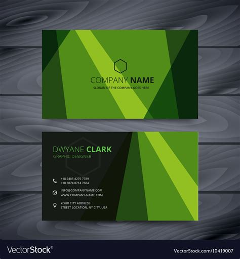 Green Business Card Template Vector by Green Business Card Design Template Royalty Free Vector