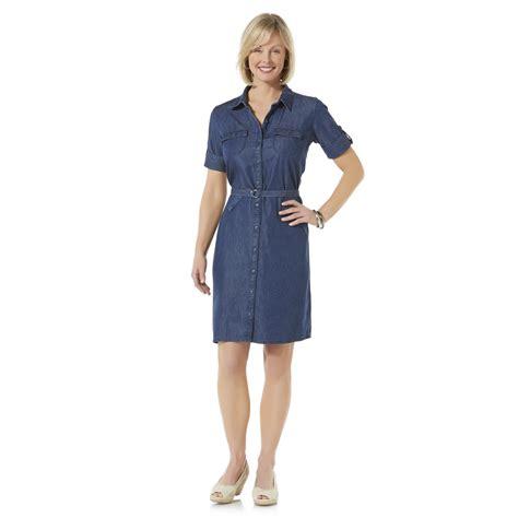 basic editions s chambray shirt dress belt