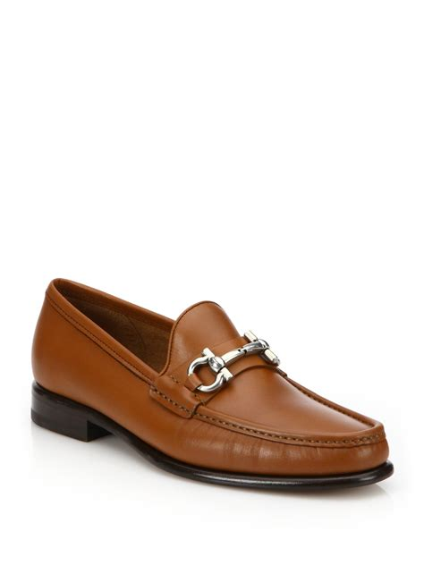 ferragamo bit loafer ferragamo leather bit loafers in brown lyst