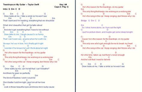 taylor swift chords teardrops on my guitar talkingchord september 2011