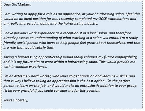 hairdressing cover letter how to secure a hairdressing apprenticeship