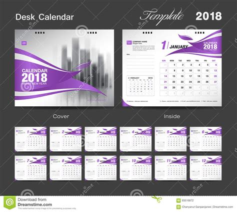 set desk calendar 2018 template design red cover stock