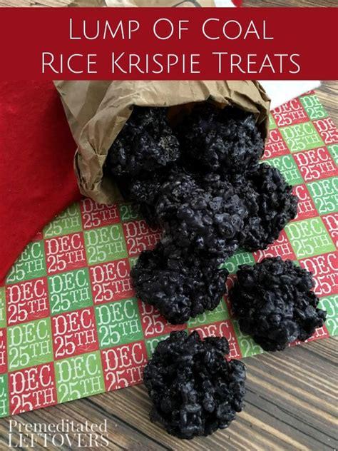 Coal Rice Krispy Cookies lump of coal rice krispie treats recipe
