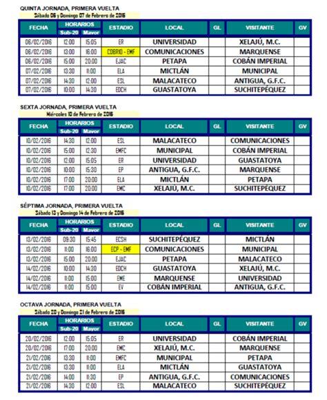Calendario U Mayor Calendario Torneo Clausura 2016 Antorcha Deportiva