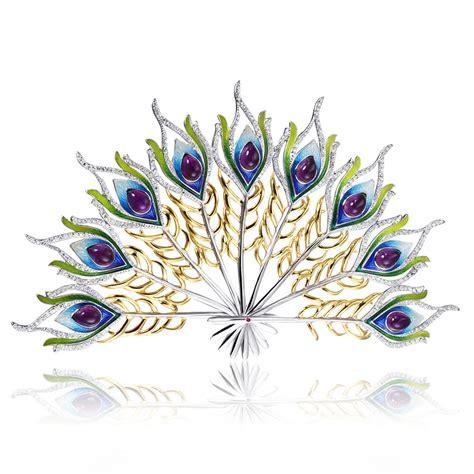 Peacock Brooch fashion peacock enamel gem brooch silver brooch buy