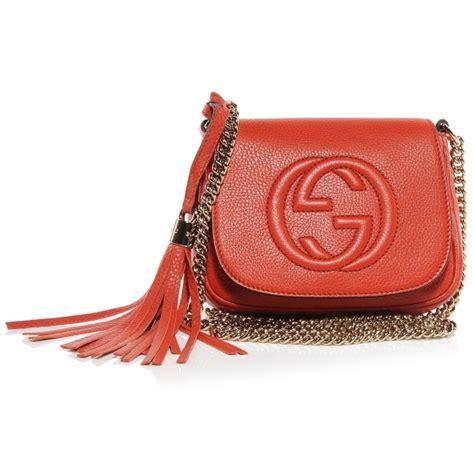 Gucci Ns Leather Orange gucci leather small soho chain shoulder bag orange 52725
