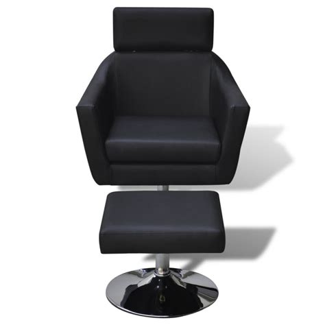 tv chair with ottoman faux leather tv armchair w ottoman stool in black buy