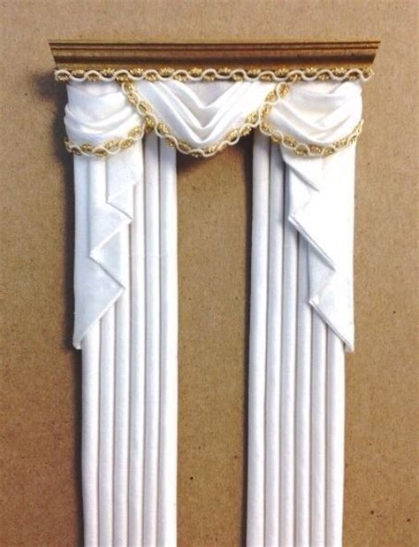 white gold curtains dollhouse miniature 1 12 drapes curtains valance white gold