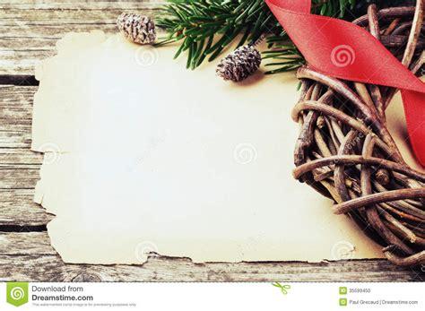 festive frame  vintage paper  christmas wreath stock photo image