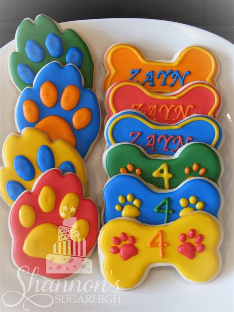 Theme Only Not Include Biscuit paw patrol theme royal icing painted shortbread cookies in the shape of bones and paws