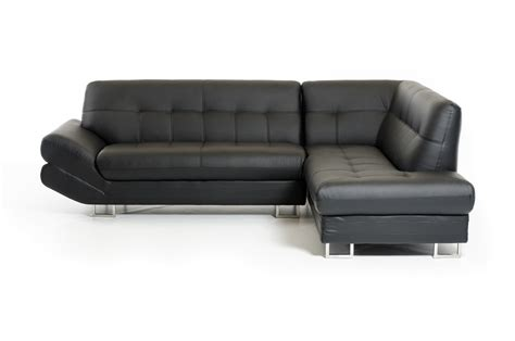 divani casa 1504 modern black bonded leather sectional sofa
