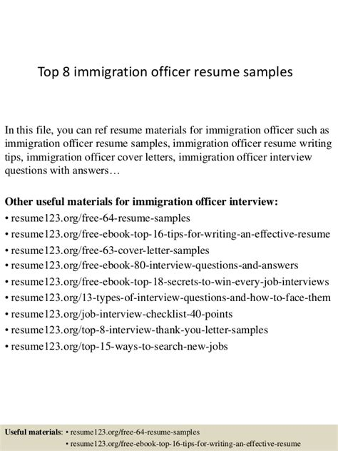 Cover Letter To Immigration Officer by Top 8 Immigration Officer Resume Sles