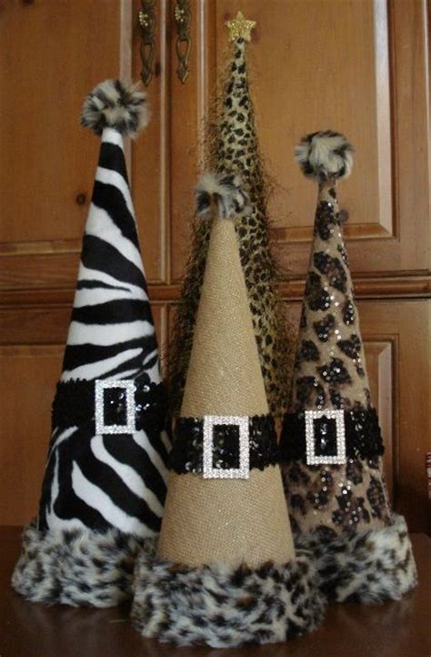 set of animal print christmas cone trees cones pinterest
