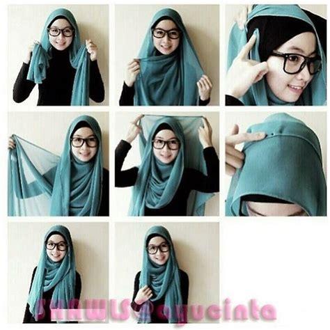 tutorial hijab pashmina model syar i cara pakai jilbab pashmina sifon polos simple model jilbab