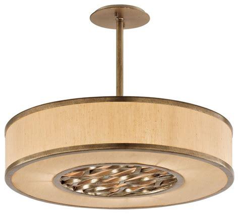 Fabric Drum Pendant Lights Troy Lighting F3156 Bronze Leaf Serengeti 3 Light Drum Pendant With Fabric Shade Transitional