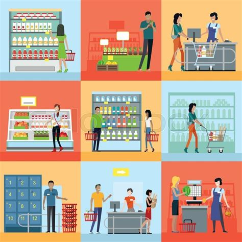 supermarket process layout set of shopping concepts vectors in flat design customers