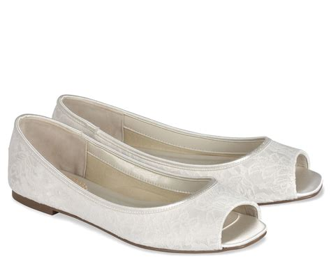 Brautschuhe Flach Ivory by Flat Ivory Wedding Shoes With Peep Toe Ipunya
