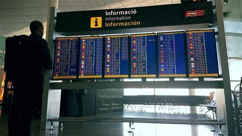 barcelona departures international airport arrivals board in barcelona spain