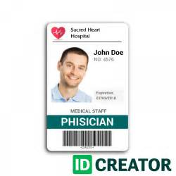 hospital id card template id badge for doctors from idcreator