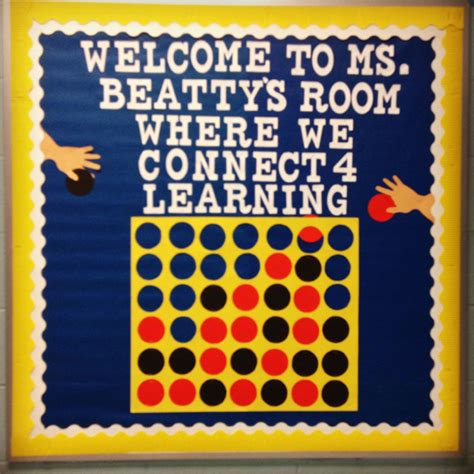 school themed games connect 4 welcome bulletin board board game classroom