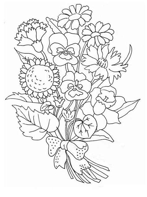 Flower Bouquet Coloring Pages Download And Print Flower Flower Bouquet Coloring Pages