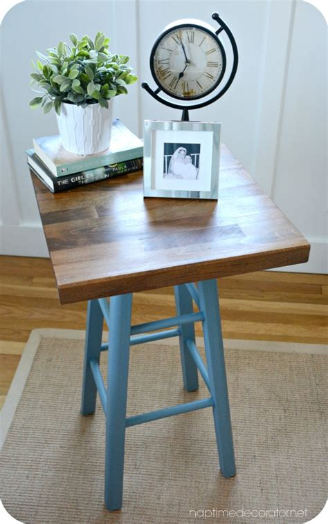 a cutting board kitchen stool a table