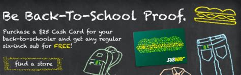 Buy Subway Gift Card Get Free Sub - subway canada back to school lunch offers for students get free sub of your choice
