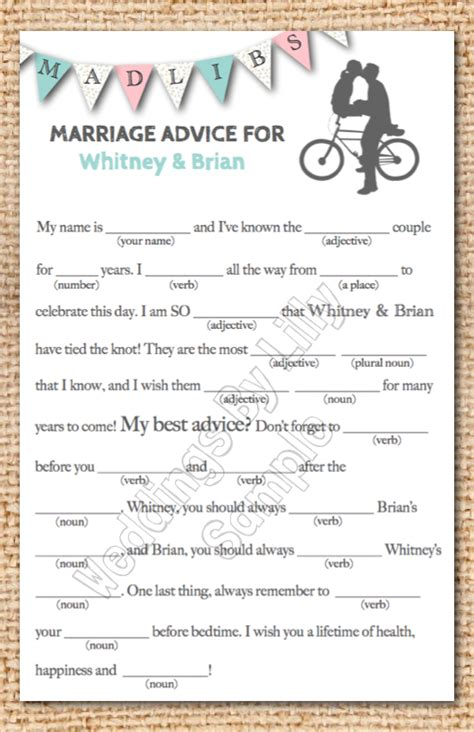 mad lib template wedding mad libs printable