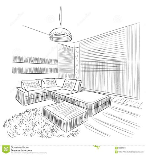 room sketch room interior sketch stock vector image 63561819