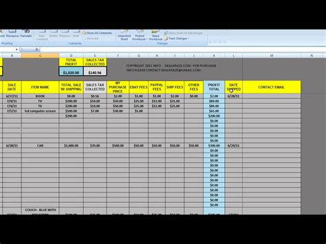 Excel Spreadsheet Sles by Great Tool For Ebay Tracking Sales Sheet From Dealkraze