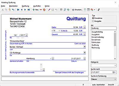 Rechnung Quittung Privatperson keseling software quittung