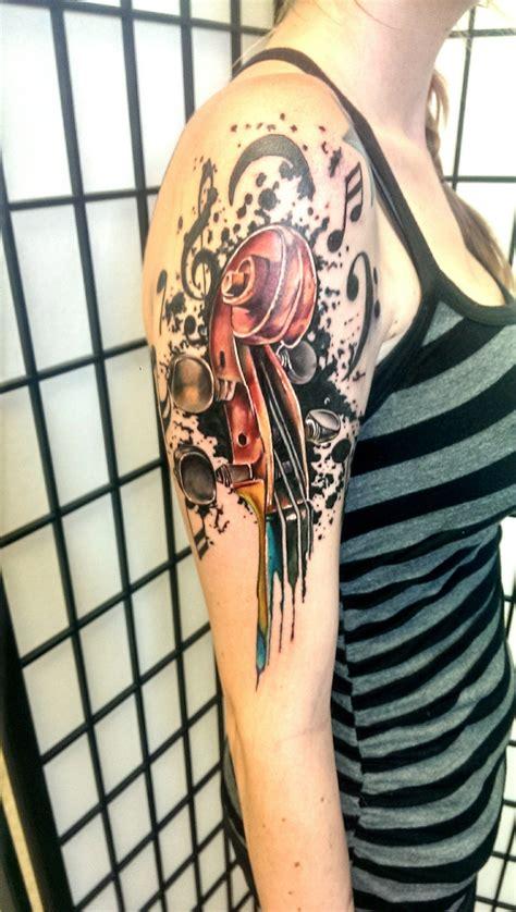 broken clover tattoo drippy violin scroll by johnny jinx broken clover