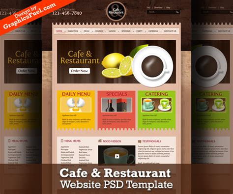 Cafe Templates by Cafe Restaurant Website Psd Template Graphicsfuel