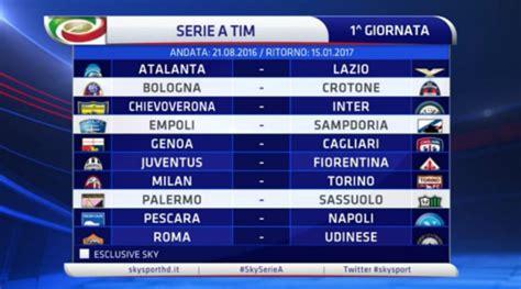 Calendario 9 Giornata Serie A Serie A Calendario Stagione 2016 2017 Ecco Tutte Le