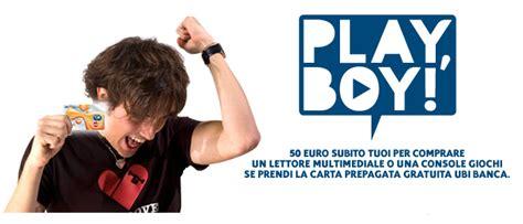 ubi carta prepagata play boy play ubi 50 gratis da spendere da