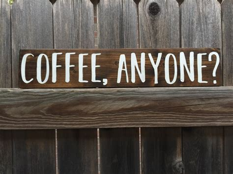 Coffee Anyone Wood Sign Coffee Rustic Wood Sign Kitchen Coffee Signs Kitchen Decor