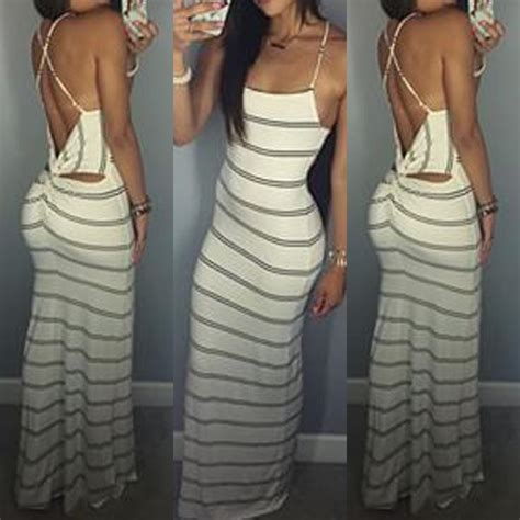 Stripes Maxi Dress 1067 summer dress maxi dresses backless stripes strapless