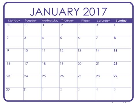 january calendar template january 2017 printable calendar templates free printable