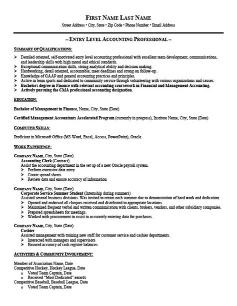 Resume Exle For Entry Level Entry Level Accounting Resume Templates Entry Level Accountant Resume