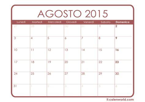 I Calendario 2015 Calendario Agosto 2015 Calendari