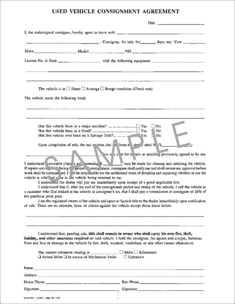 6 consignment inventory agreement template purchase