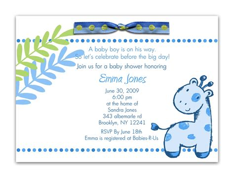 Baby Shower Invites For by Baby Shower Invitation Wording For A Boy Theruntime