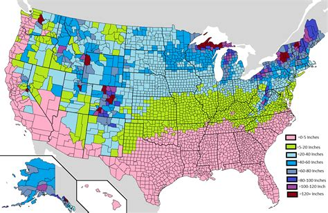 snow map united states average yearly snowfall in the usa by county oc 1513 x