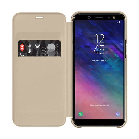 official samsung galaxy a6 2018 wallet cover gold