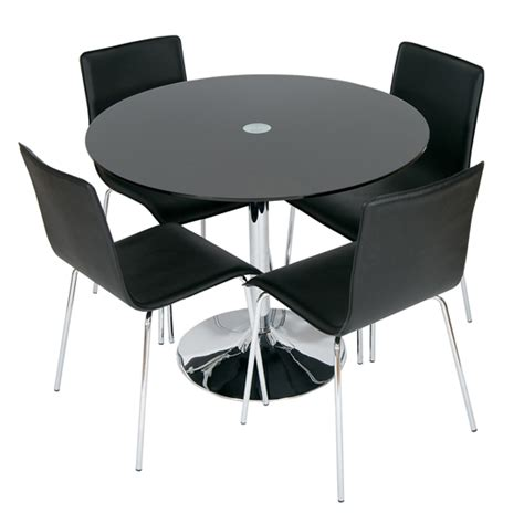 Black Glass Dining Table 4 Chairs Romano Black Glass Dining Table With 4 Dining Chairs Wowhome Uk