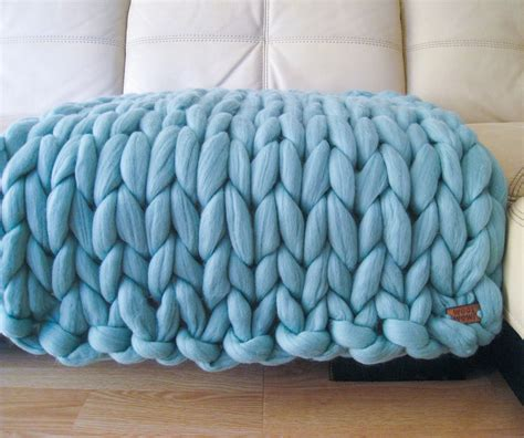 thick knitted blanket chunky baby blanket knitted merino wool by